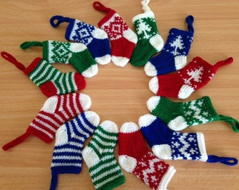 Little knitted Christmas tree stockings