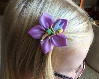 Tinkerbell Hair Clip/Hair Bow, Disney, Kanzashi, Girls