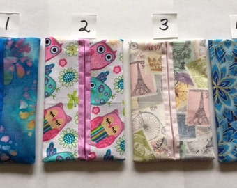 Pocket Tissue Holders, 12 Different Fabric Choices