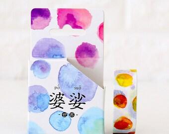 15mmX8M Watercolor Fun Bubble Washi tape Masking Adhesive Tape