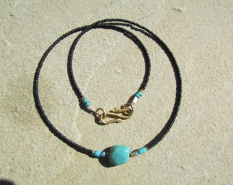 Turquoise Necklace 19 Inch - Natural Turquoise Nugget Stone Pendant - Genuine Turquoise Stone Necklace