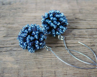 Coworker gift Clothing gift Bead ball earrings Blue Beaded bead dangle earrings Dressy Bridal earrings Gift for wife Artisan Beadwoven