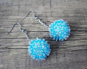 Pom poms Beaded bead dangle ball earrings Blue bead ball earrings Beadwork fluffy Seed bead earrings foodie gift for girl Beadwoven trend