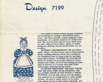1950s Mail Order Doll Electric Stand Mixer Cover Sewing Pattern UNCUT