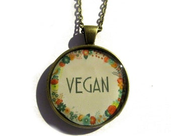 VEGAN NECKLACE - vegan jewelry - Nature I heart - vegan gift - vegetarian, eat clean, healthy eating, handmade jewelry, gift for her