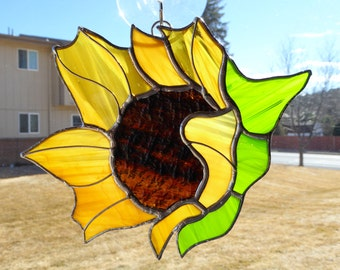 Sunflower Stained Glass Suncatcher - Glass Sunflower - Sunflower Gift