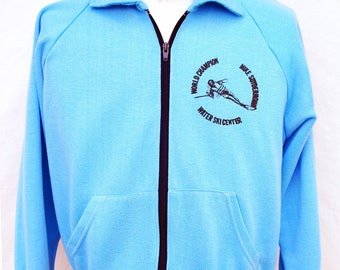 Vintage Mike Suyderhoud Water Ski World Champion Track Jacket Distressed Mens S M Blue 70s 80s Athletic Clothing