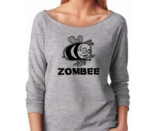 Slouchy Sweatshirt, Zombie Sweatshirt, Bee Halloween Sweater, Horror, 3/4 Sleeve Lightweight Raw Edge Raglan Sweater Ringspun Cotton