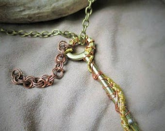 copper & gold wire wrapped skeleton key pendant NOW WITH chain