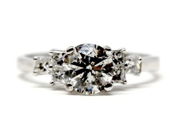14k White Gold Diamond Engagement RIng Round Cut side stones vintage look