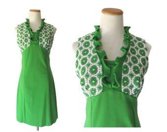 Mod Mini Dress 60s Green Scooter Twiggy Dress 70s Lace Shift Sleeveless Ruffles 1960s 1970s Size Small Medium