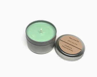 Key Lime Pie Soy Candle Tin, lime scented soy candle, soy candle tin, lime scented candle tin, lime candle, green candle