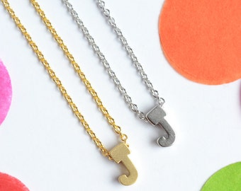 Gold or Silver Plated Upper Case Letter 'J' Necklace, J Initial Necklace| Little Wren