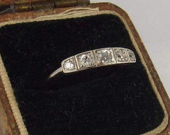 Edwardian 18 carat white gold and 0.45 CT diamond band