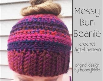 Crochet Messy Bun Beanie PATTERN - Crochet Messy Bun Hat Pattern - Crochet Bun Beanie - Crochet Bun Hat - Crochet Pattern Digital Download