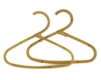 Rattan Clothes Hangers. Retro Bamboo Hangers. 1970s Fashion Clothes Hanger.