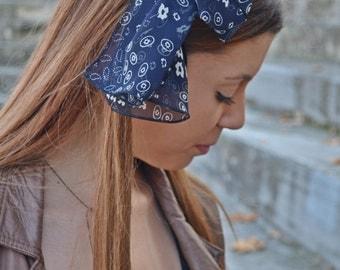 Navy Blue Headband, Navy Blue, Scarf, Women Head Scarf, Hair Covering, Long Hair Accessory, Retro Head Scarf, Retro Head Scarf, Head Scarf