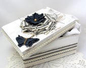 Navy and White Box - Decorative Box - Cottage Chic - Flower - Navy Blue Ticking - Lace Trim - Wedding - Keepsake Box - Gift Box - Butterfly