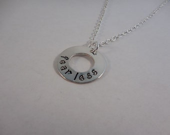 Fearless Hand Stamped Silver-Filled Washer Necklace