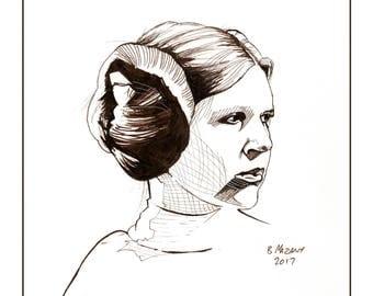 Princess Leia wall art print 11x14 Star Wars Carrie Fisher