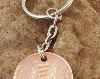 1998 2p Two Pence Irish Coin Keyring Key Chain Fob 19th Birthday