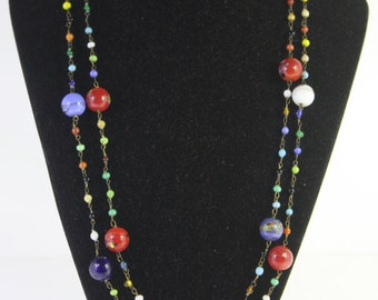 Vintage Multi color glass bead chain necklace