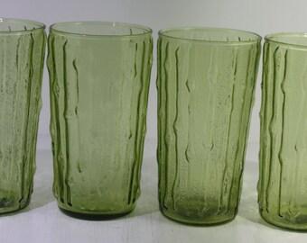 Set of (4) Anchor Hocking Avocado green Tahiti 10 ounce glasses