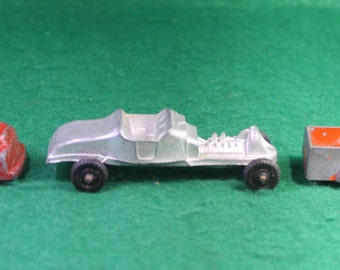 Vintage Trio (3) Made in USA Die Cast Toy Cars - Goodee Tanker , Pick up , Midget Hot Rod