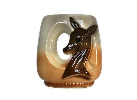 Royal Copley deer vase vintage ceramic figural doe Spaulding planter