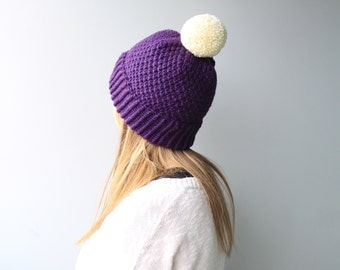 CUSTOMIZE- Choose from Available Colours - Wool & Acrylic / Moss Hat / Wool Hat /Pom Pom beanie / Slouchy Beanie