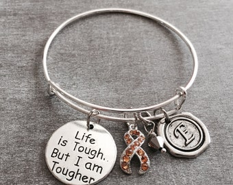 Life is tough but I am tougher, Silver Bracelet, Fighter, Survivor, Cancer, GOLD Ribbon, Awareness Ribbon, Neuroblastoma, Osteosarcoma