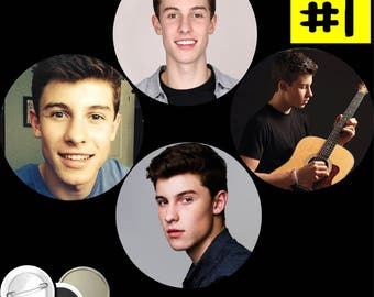 Shawn Mendes SET of 4 BUTTONS or MAGNETS or pocket mirrors pinback pins badges #1451