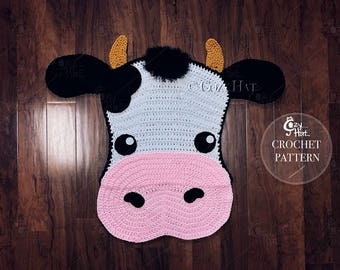 CROCHET PATTERN Molly the Cow Rug, by Cozy Hat.