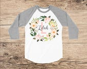 Personalized Shirt with Pretty Flower Wreath