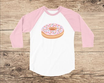 Donut Toddler Shirt, Raglan with 3/4 Sleeves