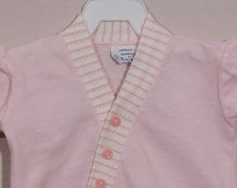 6-9mo: Vintage Baby Girl Knit Diaper Set, 1960's Pink Knit Shirt and Diaper Cover