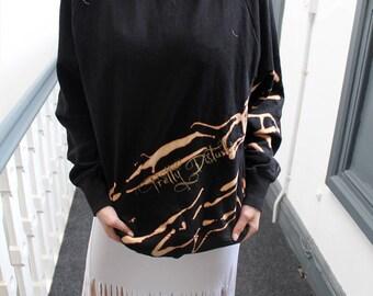 Customised slouchy kitsch black jumper peach splash print