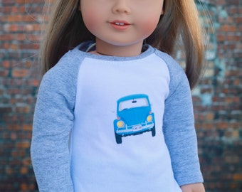 Doll Clothes | Trendy Gray Heather VW Bug Graphic Long Sleeve Fitted BASEBALL TEE for 18 Inch Doll such as American Girl Doll