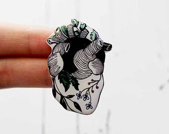 anatomical heart anatomical jewelry human heart jewelry heart pin heart brooch heart charm flower heart gifts|for|sister gifts|for|him her