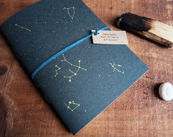 Notebook gold stars, constellation print, screen printed journal