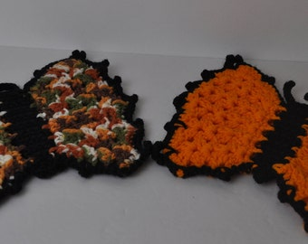 2 Handmade Crocheted Butterfly Potholder Hotpad  Orange & multicolored