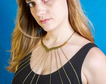 Brass Chain Body Necklace | Body Chain | Statement Necklace | Body Jewelry | Chest Plate | Elegant Chain Harness | Wraparound Bib Necklace