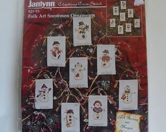1997 Janlynn 21-93 Folk Art Snowmen Ornaments Christmas Holiday Decoration