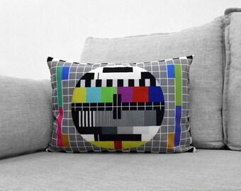 "PM5544 - 14"" x 20"" velveteen pillow case - television common PAL test pattern"