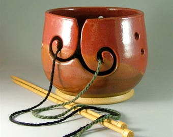 Pottery Yarn Bowl - Harmony of Reds with Double-Spiral / Ceramic Knitters Bowl / Spiral Slotted Yarn Bowl