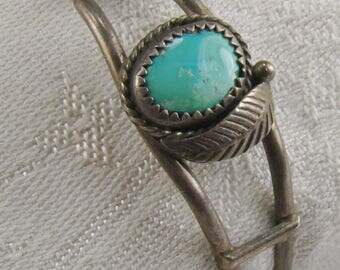 Two Strand Southwest Navajo Style Sterling and Turquoise Cuff Bracelet