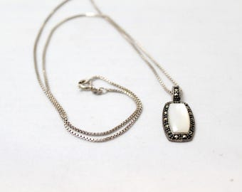 Lovely Vintage Marcasite and Mother Of Pearl Pendant On Sterling Silver Chain