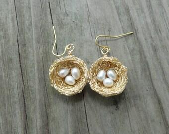 Gold  nest Earrings , Gold,birds nest earrings , wire wrapped earrings, freshwater pearl nest earrings, nature jewelry, white pearl earrings
