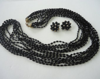 Black Long Strand Beaded Necklace with Earrings