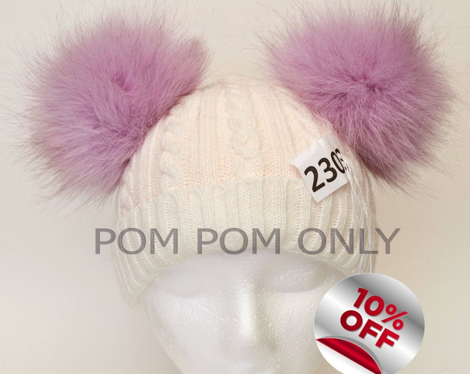 "6,5"" POM POM EARS! Pair of Fox Pom Poms, Arctic Fox PomPom, Purple Fox, Fur Ears, Real Fur Pom Pom, Children, Handmade, Pom Pom for Hat"